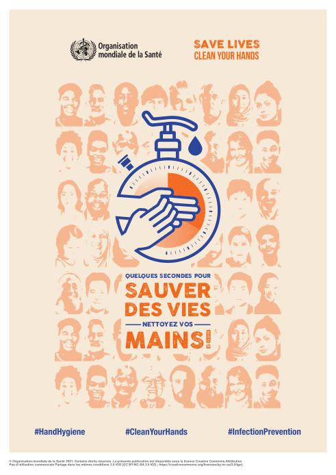 Affiche de la journée mondiale de l'hygiène des mains 2021